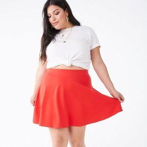 Forever 21 Plus Orange Red Mini Skater Skirt